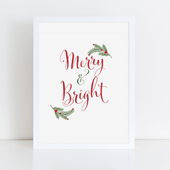 Merry & Bright 8x10 Printable - TiraYoungShop