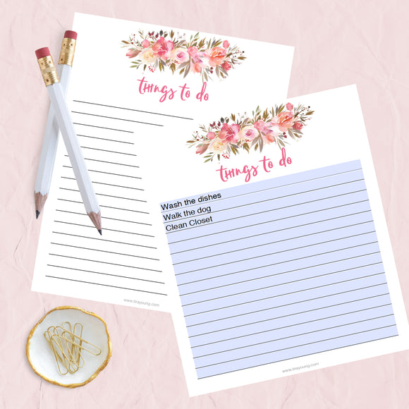 Things To Do & Notes Printables:  Pink Floral - TiraYoungShop