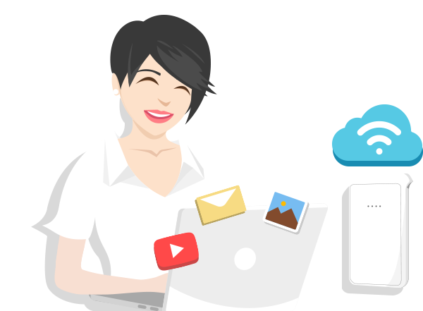vector image of a girl using a laptop with wifi