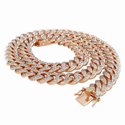 Round Diamonds rose Gold Cuban Link Chain