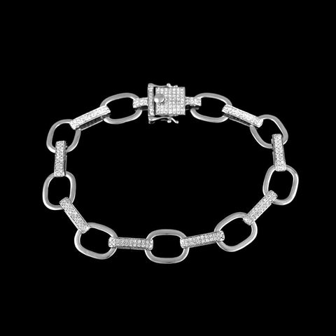 Chain Link Bracelet for Men white gold