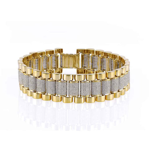 Mens Diamond Bracelet yellow gold