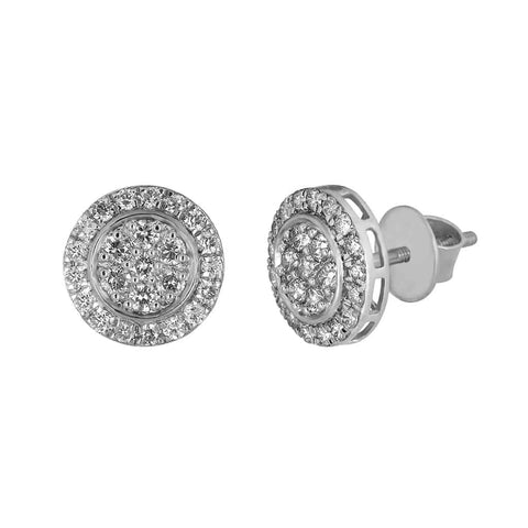 Round Stud Earrings for Unisex white gold