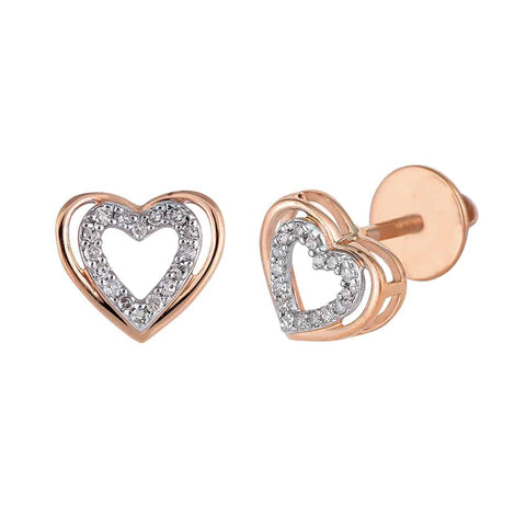 Rose Gold Heart Shaped Hip Hop Mens Earrings