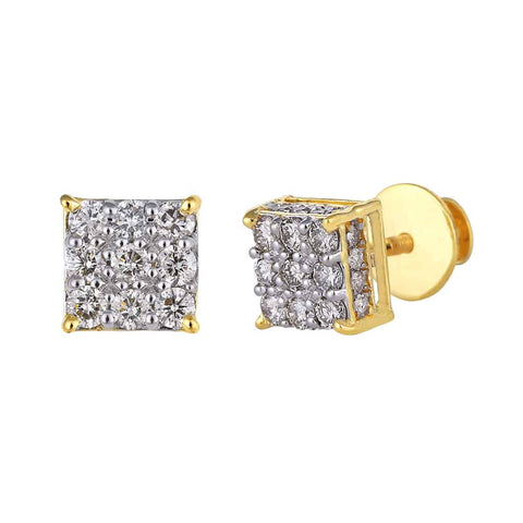 Square Stud Earrings yellow gold