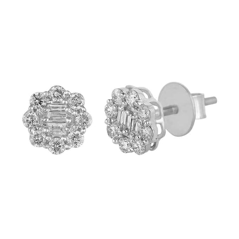 Baguette and Round Diamond Earrings white gold