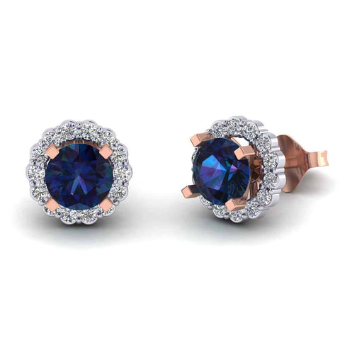 Sapphire Diamond Earring for Women rose gold