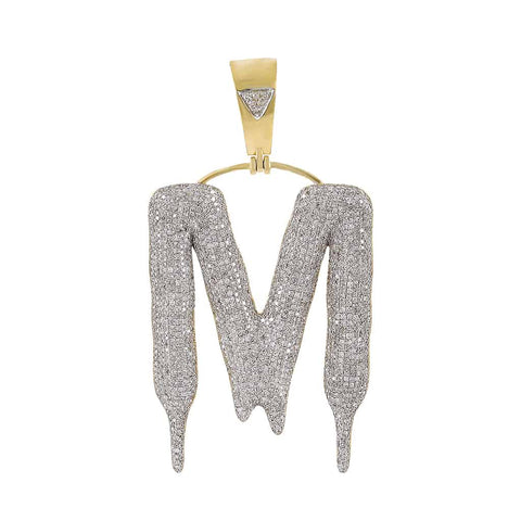 Dripping Initial M Bubble Letter Pendant yellow gold