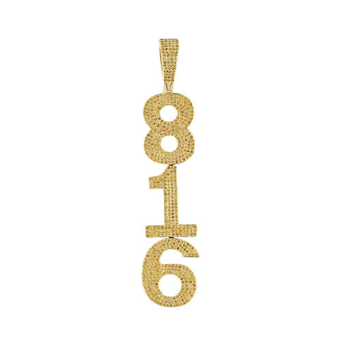 Number 816 Custom Necklace Pendant yellow gold