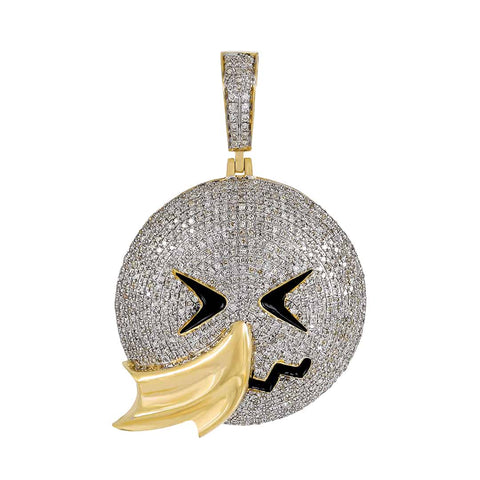 Men's Hip Hop Face Emoji Custom Pendant yellow gold