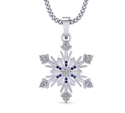 Diamond Snowflake Necklace white gold