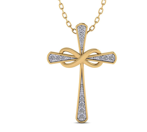 Infinity Cross Necklace for Women yellow gold