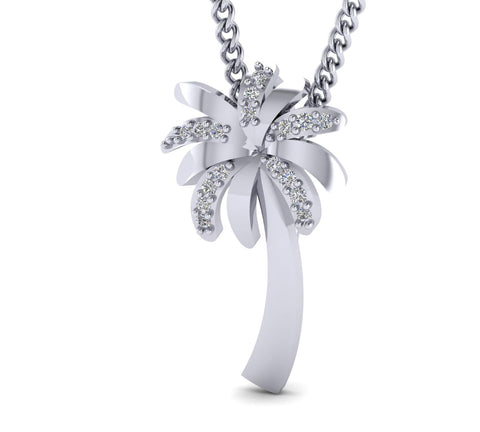 0.06cts Natural Diamonds Gold Plated Silver Palm Tree Pendant Necklace for Women.