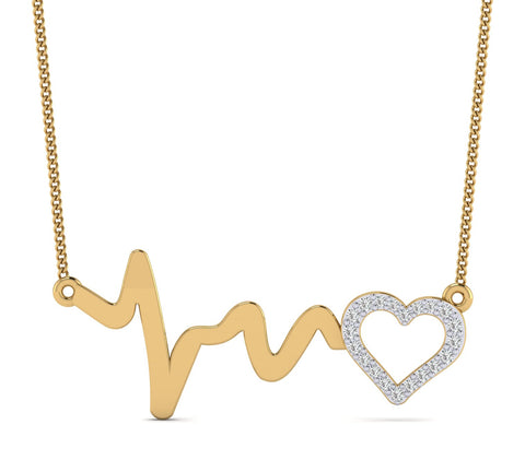 0.110ct Natural Diamond Gold Plated Silver Heartbeat Wave & Heart Pendant For Your Love