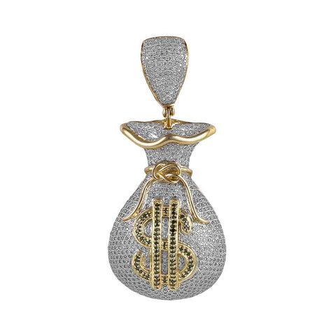 yellow gold money bag pendant for men