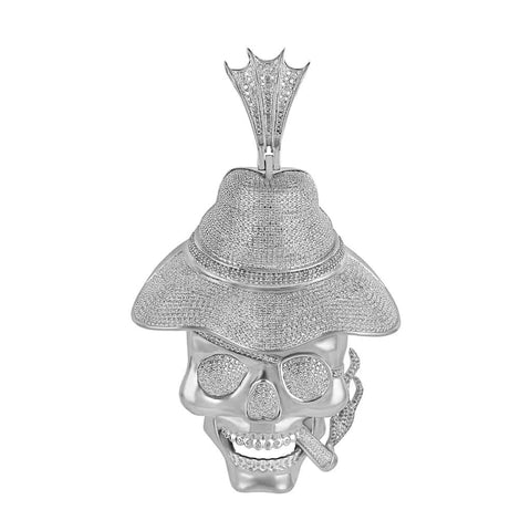 Skull Cigar Hat Necklace for Men white gold