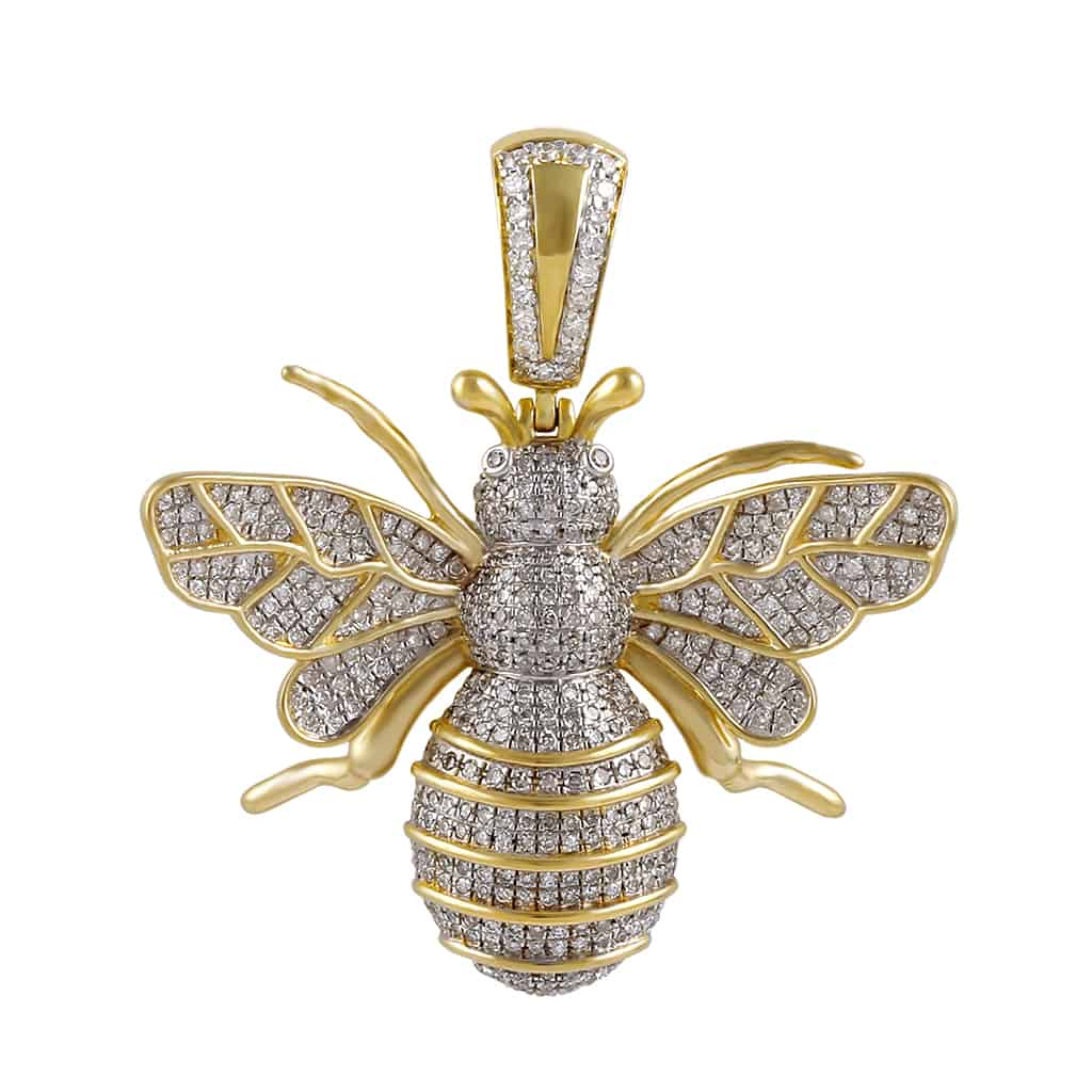 8417cc1e3a491 Honey Bee Pendant Necklace 1.26ct Round Diamond 10k Gold by Fehu Jewel