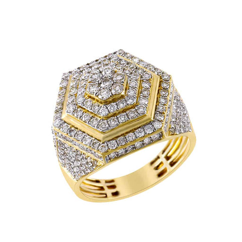 Hexagon Ring for Men yellow gold