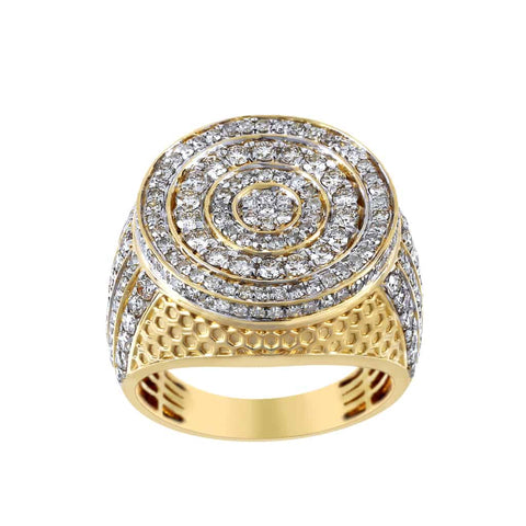 Beehive Pattern Round Halo Diamond Ring for Men yellow gold