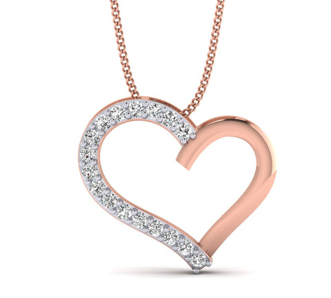 14K Heart Shaped Gold Pendant with 1/6ct Natural Diamond For Women