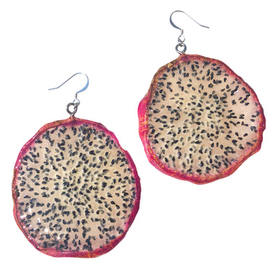 Dragon Fruit Earrings - White Medium