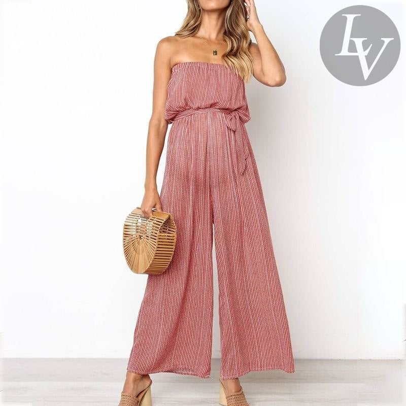 utterly stylish pretty and colorful available ChicLV Maternity Off Shoulder Stripe Loose Jumpsuit