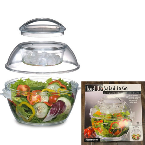 Iced Up Salad to go Carry and Serve Bowl with Ice Chamber Above