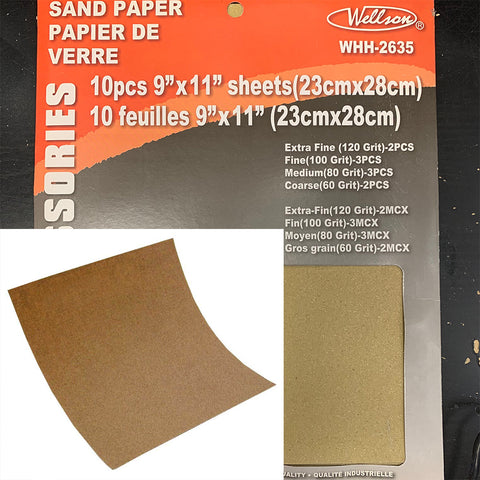 "Assorted Sand Paper 9 x 11"" 10 PCS"
