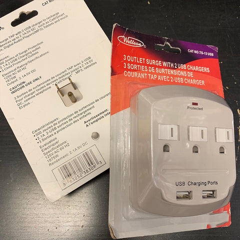3 OUTLETS WALL ADAPTOR WITH 2.1 AMP 2-USB PORT
