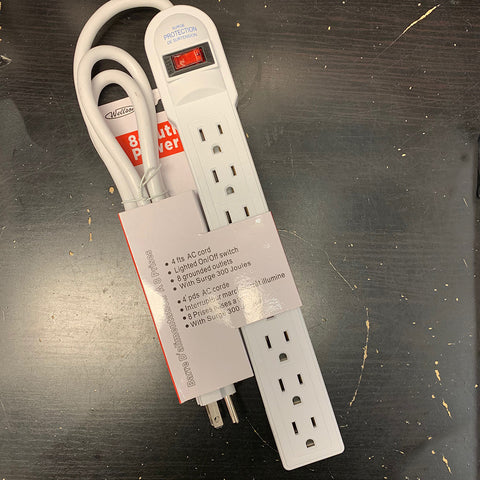 8 Outlet Power Strip Indoor 4 FT AC Cord Lighted on / off Switch