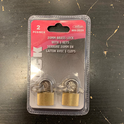 Brass Lock with 3 Keys 20mm