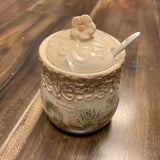 Ceramic Sugar Salt Pot with Spoon / Lid  / Holder Set