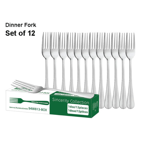 STAINLESS STEEL DELUXE DINNER FORK - SET OF 12
