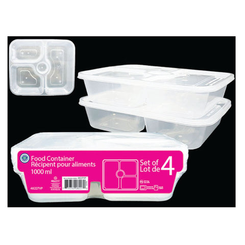 4 COMPARTMENTS FOOD STORAGE CONTAINER 1000ML - 4PK