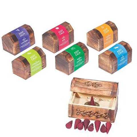 Keep Calm Incense Cones Set w/wooden Box