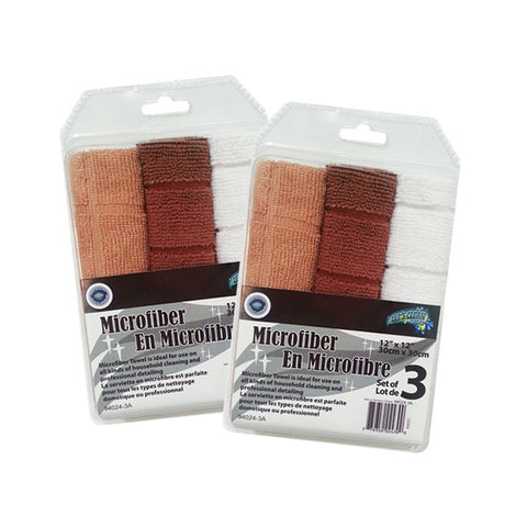 MICROFIBRE TOWEL-3PK EMBOSSED 12X12IN (250G/M2)