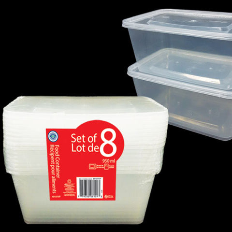 VALUE PACK RECT FOOD STORAGE CONTAINER 960ML 8PK