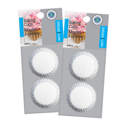 PAPER BAKING CUPS SMALL WHITE 100 PK