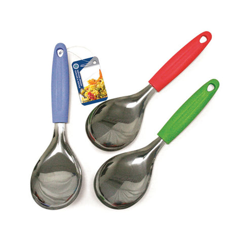STAINLESS STEEL SERVING SPOON W/COLORFUL PLASTIC HANDLE