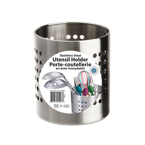 STAINLESS STEEL UNTENSIL HOLDER 5.25(H) X 4.75(DIA)