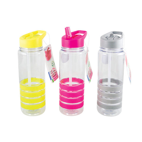 PLASTIC WITH SOFT GRIP STRIPS WATER BOTTLE - 800ML