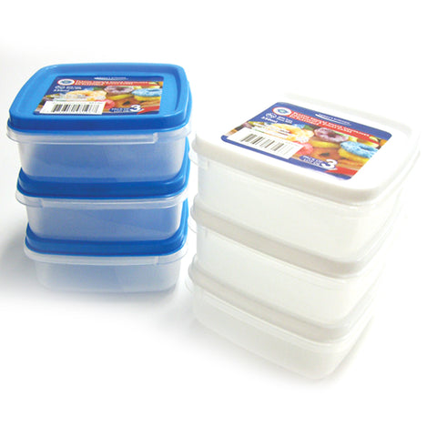 PLASTIC SQUARE SNACK CONTAINER 3PK 230ML