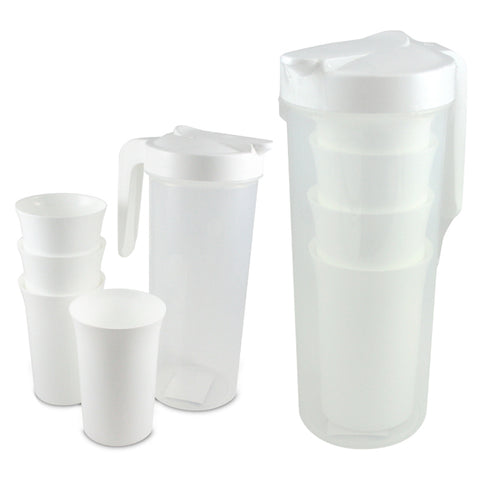 PLASTIC WATER JUG WITH 4 CUPS 1500ML