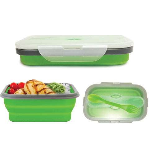 PLASTIC COLLAPSIBLE LUNCH BOX WITH SPORK 7.5x4.7x2.8""