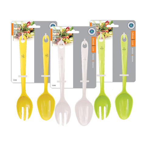 MELAMINE SERVING SPOON & FORK SET OF 2