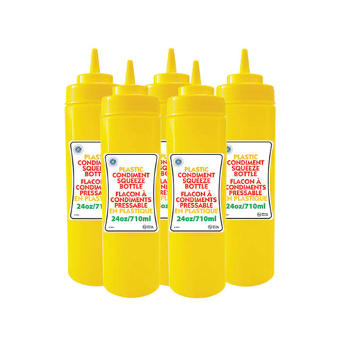 PLASTIC WIDE SQUEEZE BOTTLE - 24 OZ YELLOW