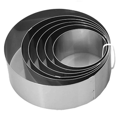"Stainless Steel Series Deluxe Round Cake Ring 2"" Tall"
