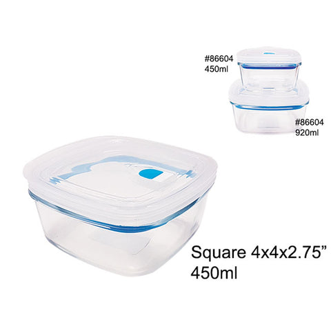 AIRTIGHT GLASS FOOD CONTAINER W/PLASTIC LID 450ML SQUARE