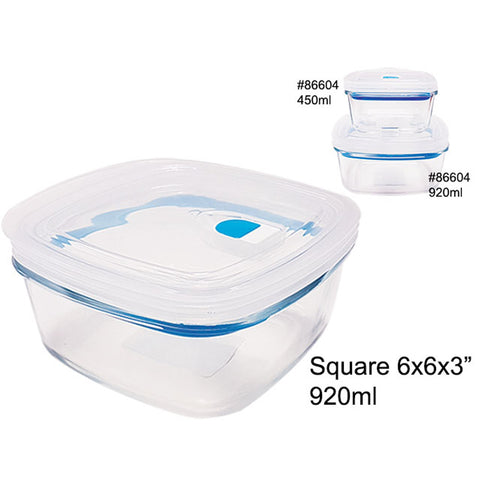 AIRTIGHT GLASS FOOD CONTAINER W/PLASTIC LID 920ML SQUARE