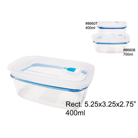 AIRTIGHT GLASS FOOD CONTAINER W/PLASTIC LID 400ML RECTANGULAR